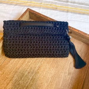 Crochet Clutch with Leather Strap & Tassel